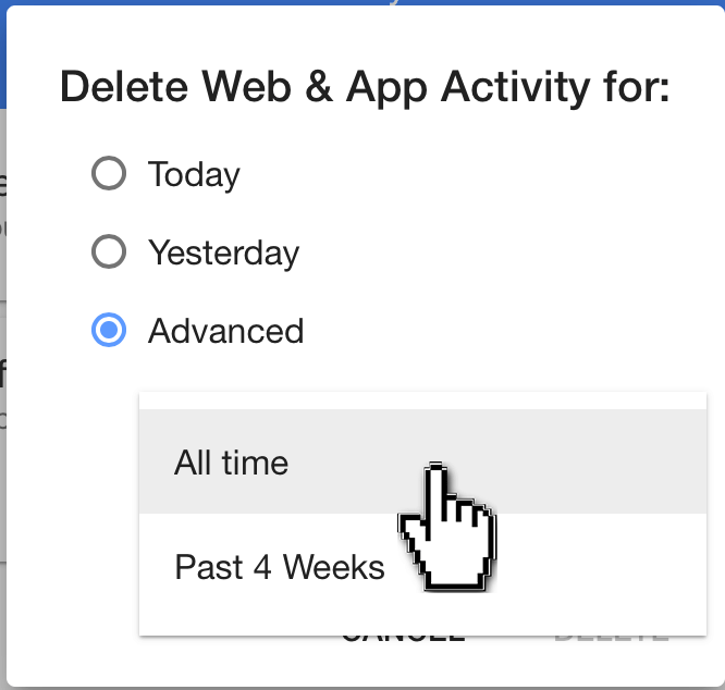 proceed with deleting your search history
