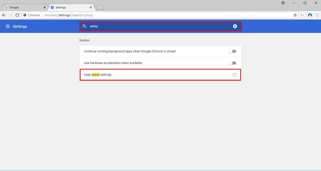 network proxy settings chrome