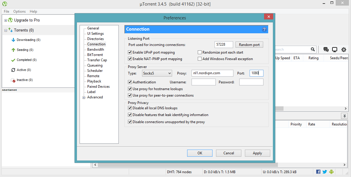 Utorrent proxy setup: how to anonymize utorrent w/ a socks5 proxy.