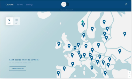 Finding servers on NordVPN's Windows app is easy