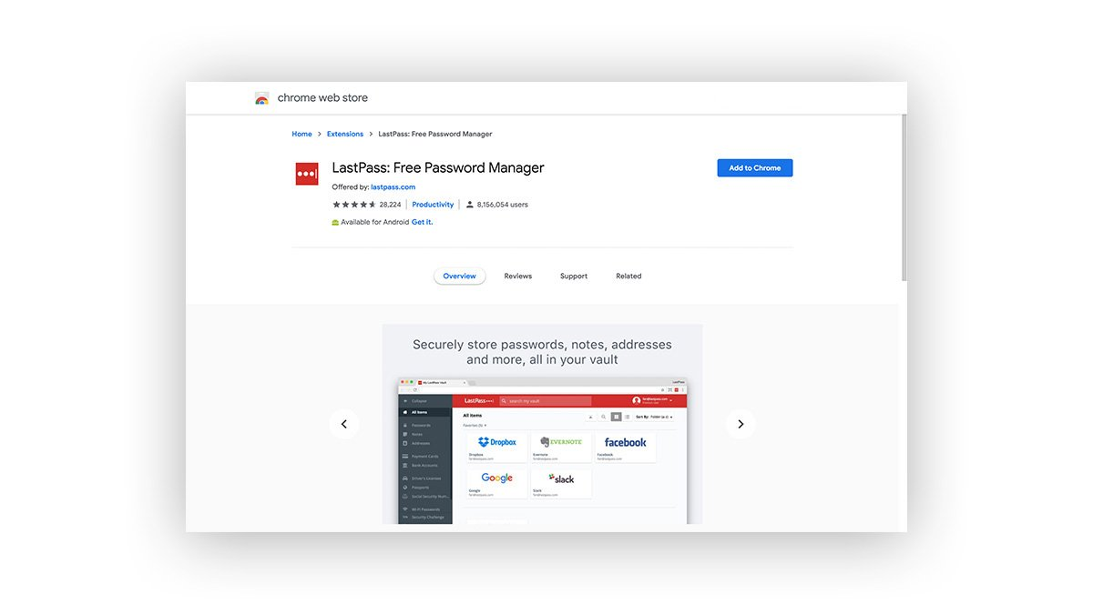 LastPass password extension