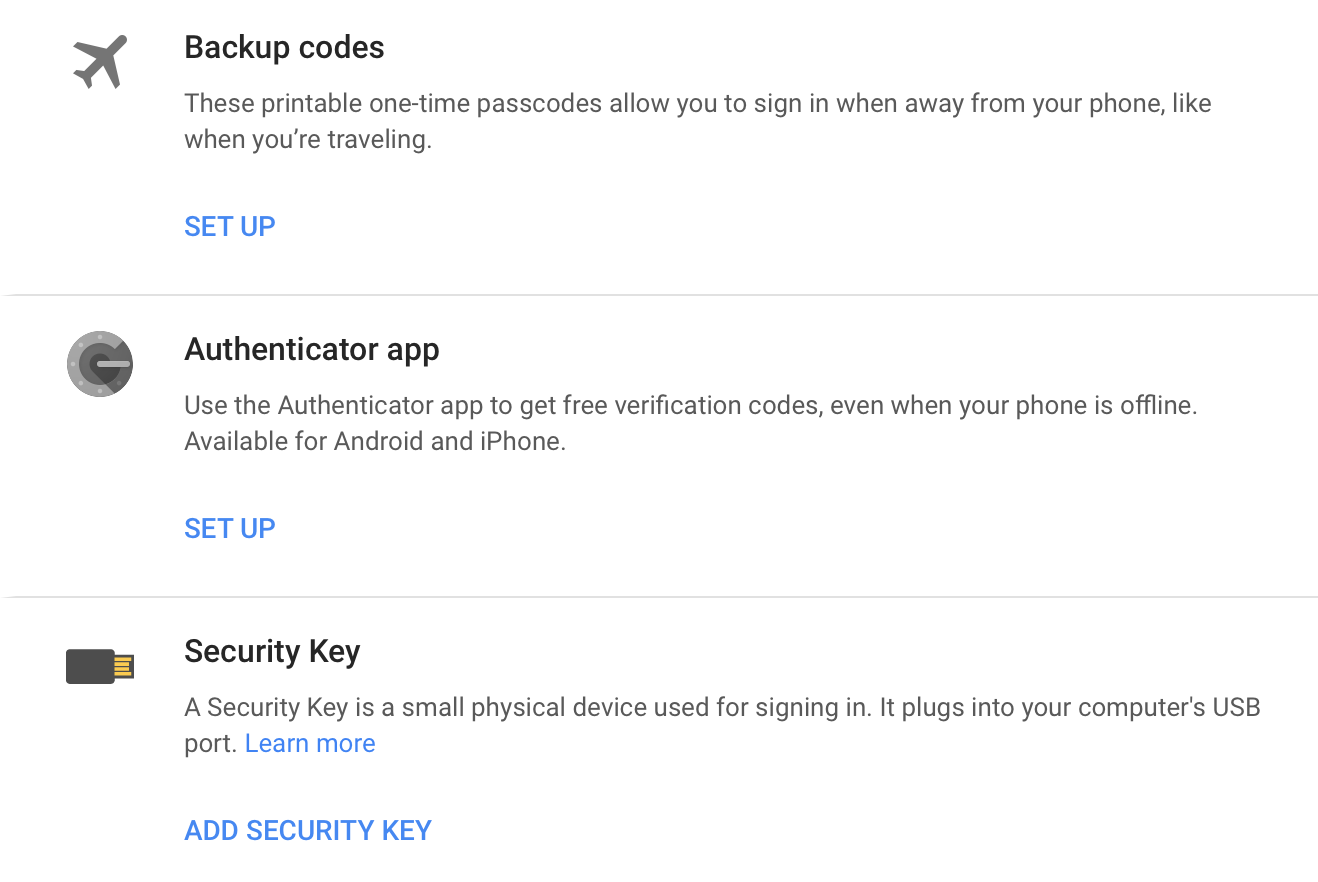 Secure accounts with two factor authentication