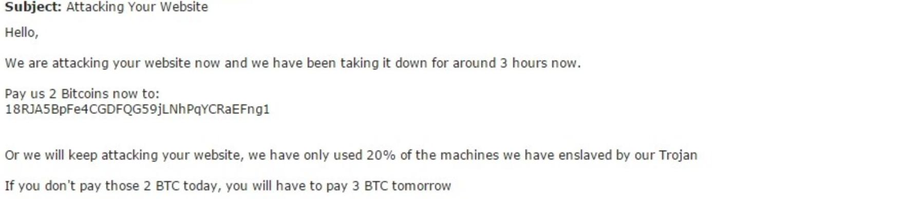 A DDoS ransom email