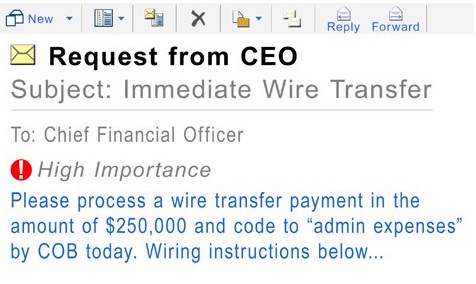 An example of a corporate phishing email