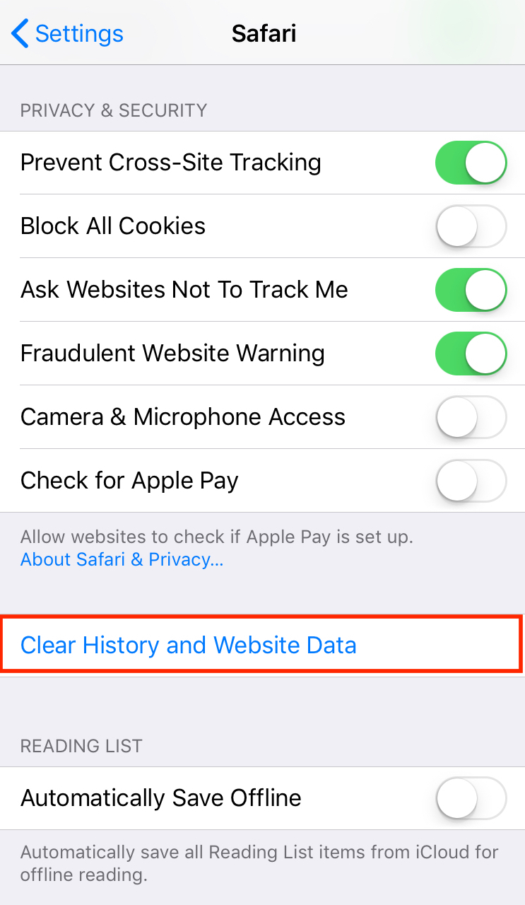 Clear your history and website data