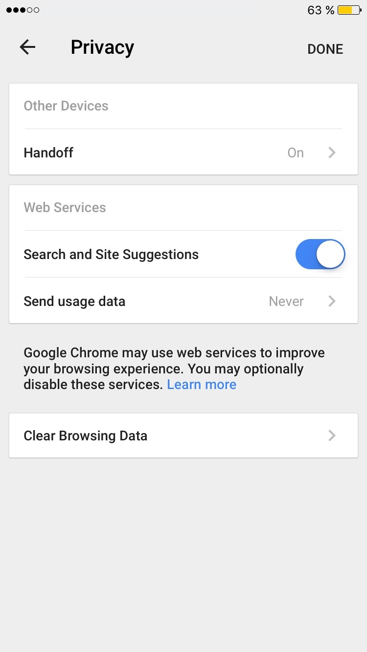 Google Chrome for iOS - Privacy settings