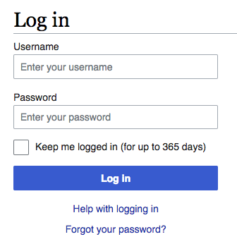 Login screen with 'Keep me logged in' option