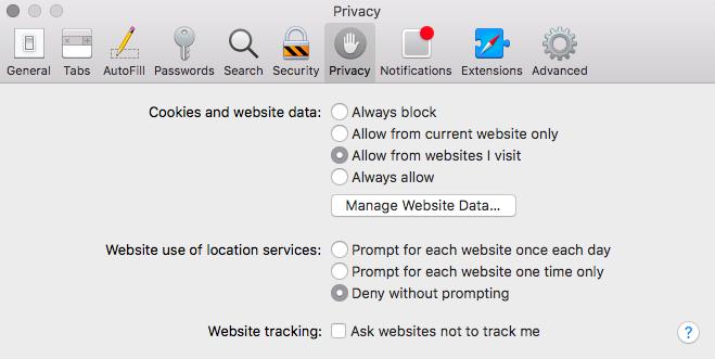 Safari Privacy Settings