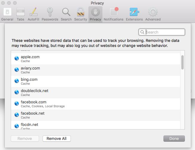 Safari - Browsing data