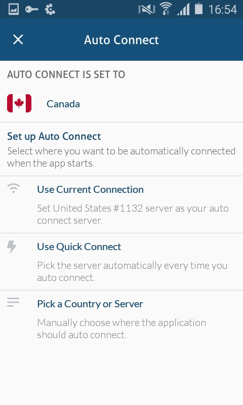 Auto Connect settings