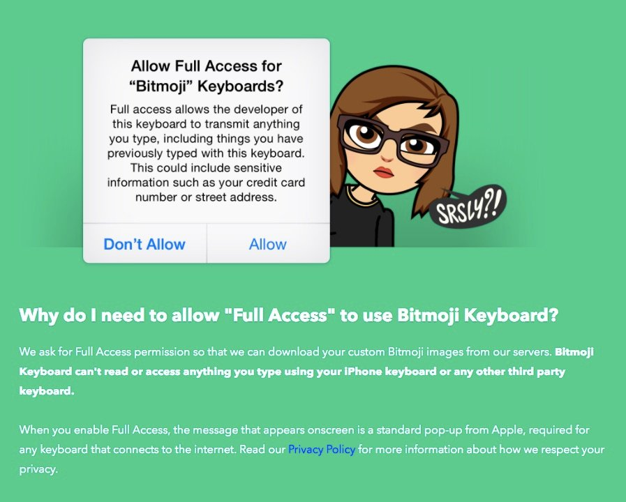 Bitmoji full access