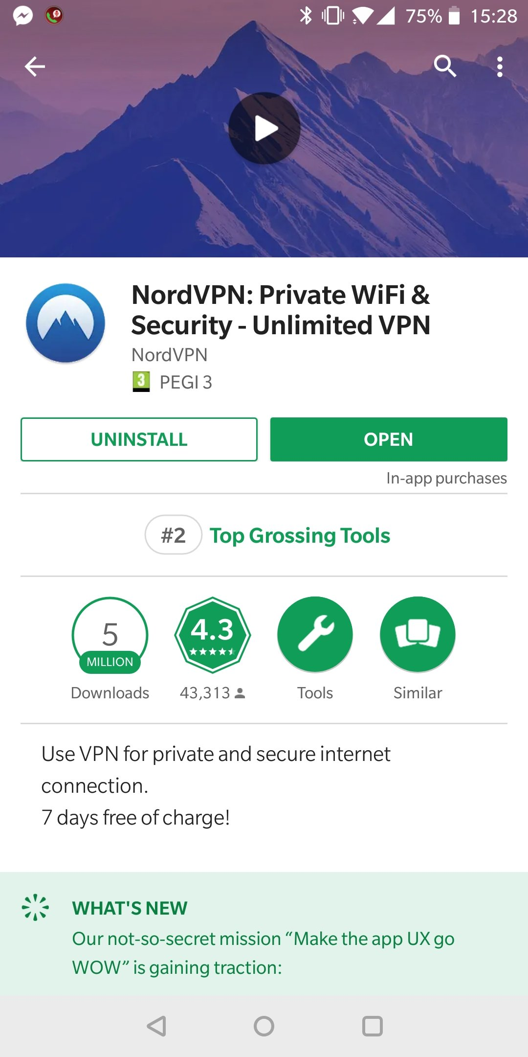 Application NordVPN sur GooglePlay