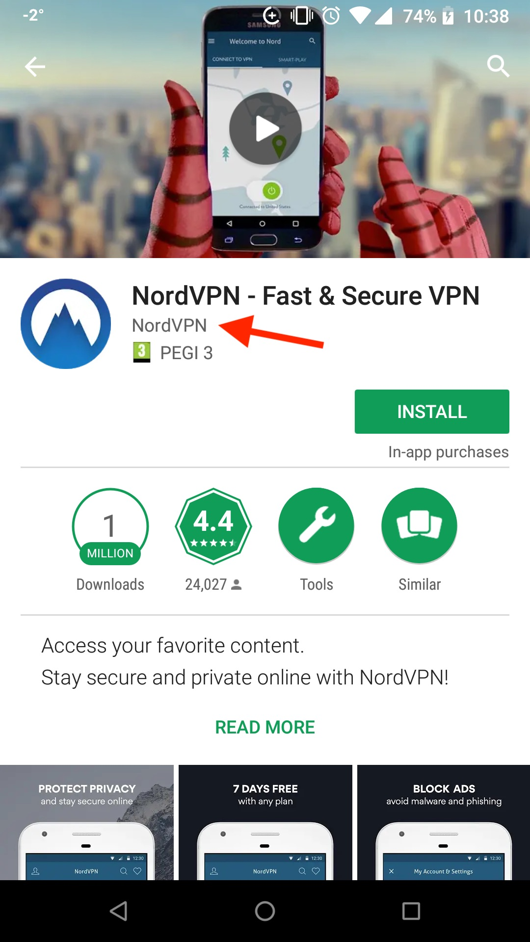 Make sure the app is owned by NordVPN