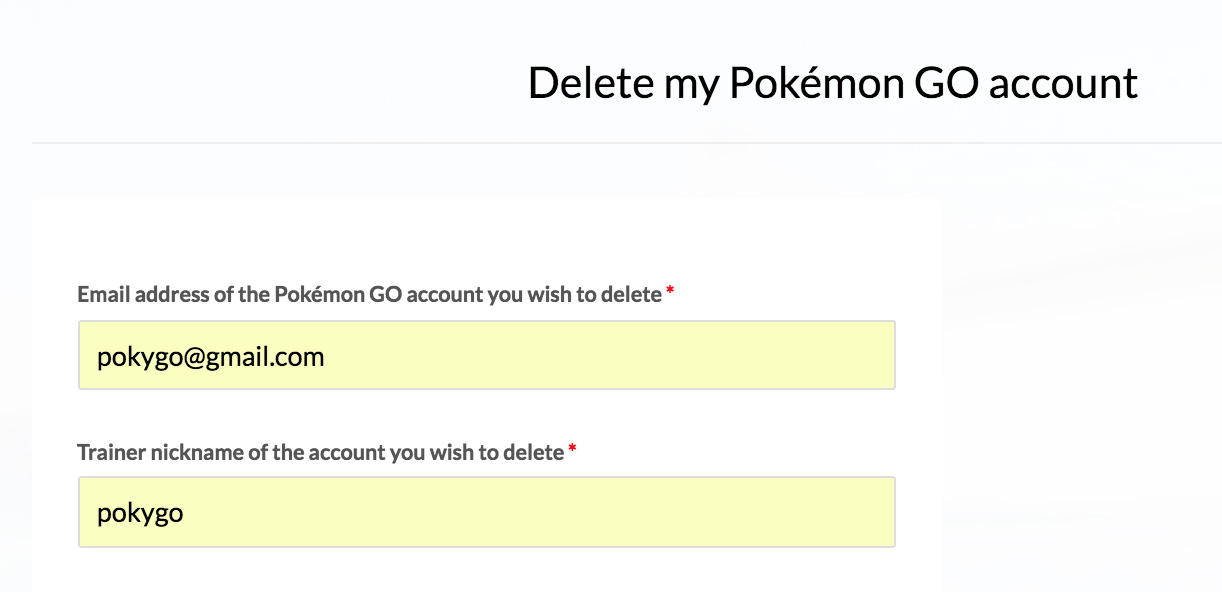 Pokemon GO deletion form