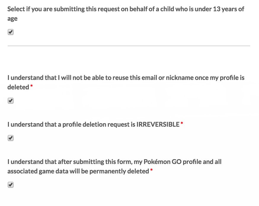 Pokemon GO deletion form checkboxes