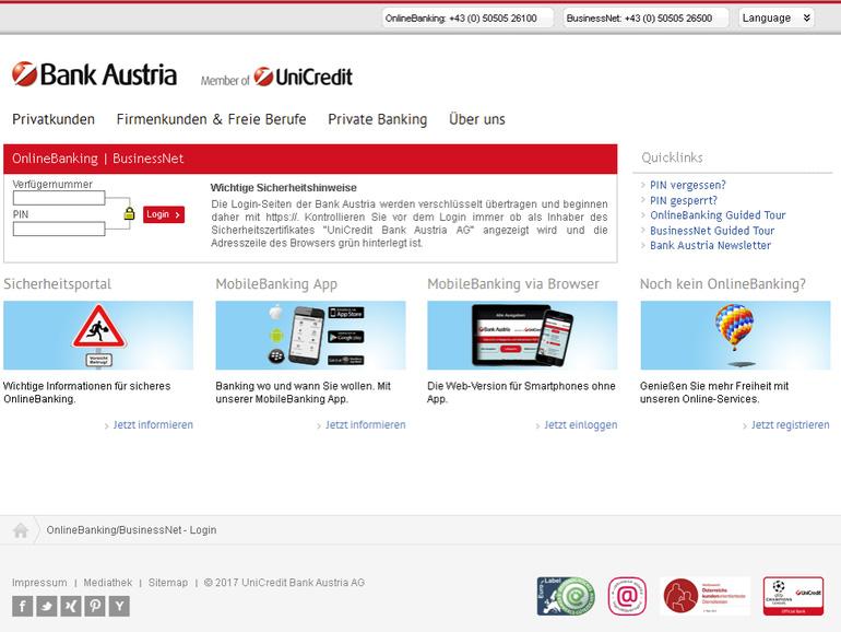 Fake Bank Austria website