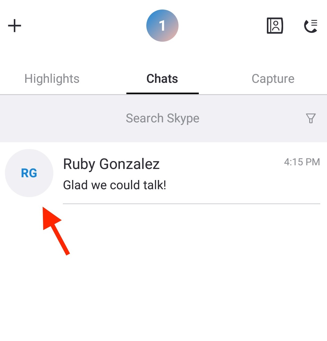 Find the conversation with the Skype message you'd like to delete