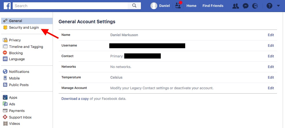 This is where you'll find the Security and Login tab in your Facebook settings.