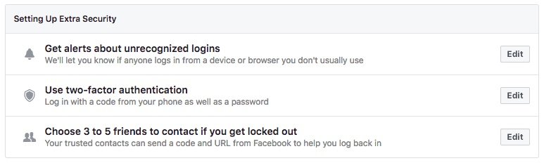 Set up extra security features to keep your Facebook secure.
