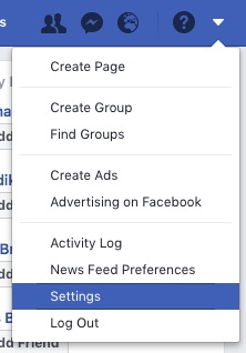 "How to find the ""Settings"" tab on Facebook."