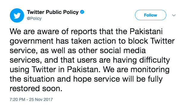 Twitter tweet about Twitter blocked in Pakistan