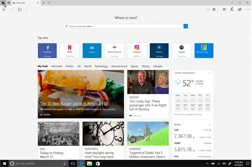 Sample screenshot of the Edge browser