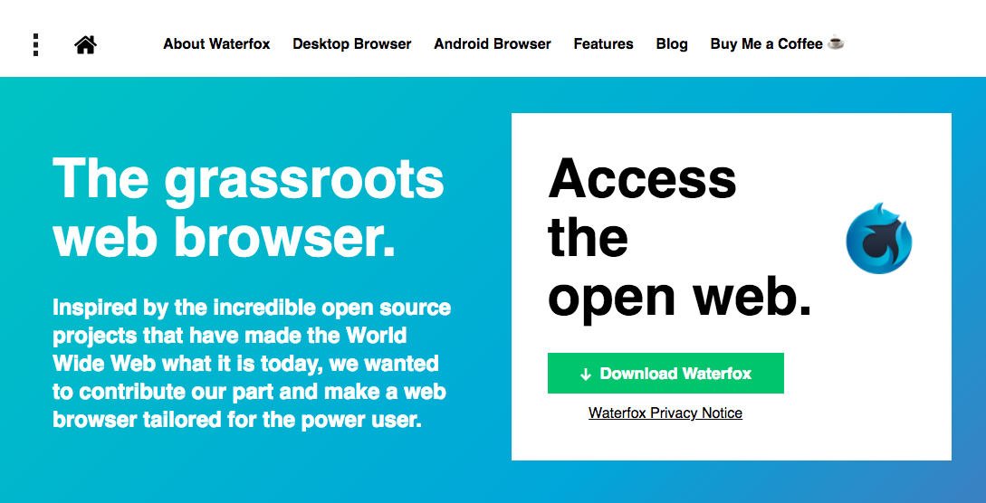 Waterfox home page