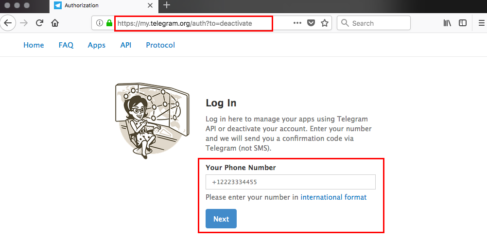 How to delete Telegram: enter your phone number