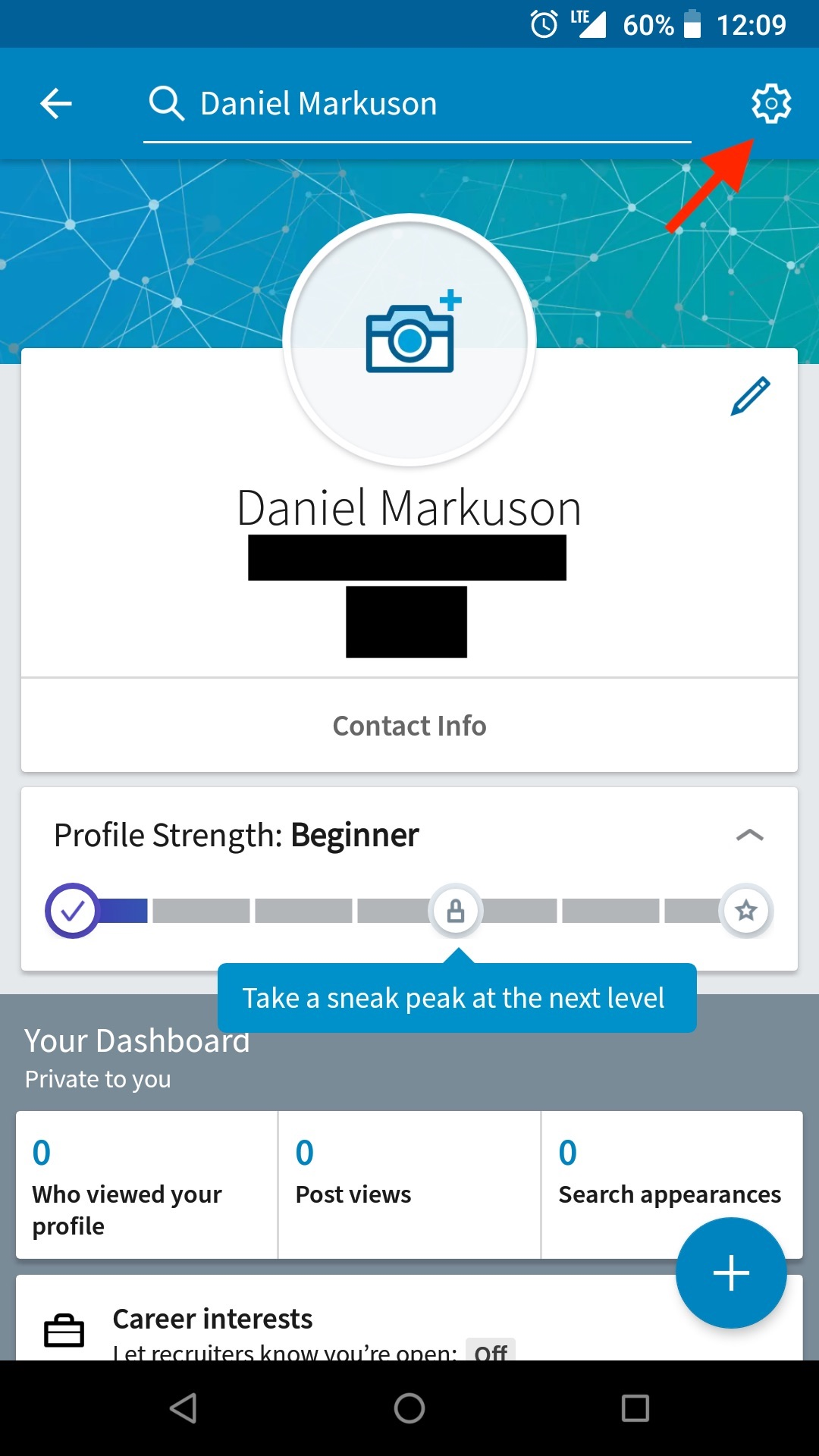 Find your mobile account settings to delete your LinkedIn account.