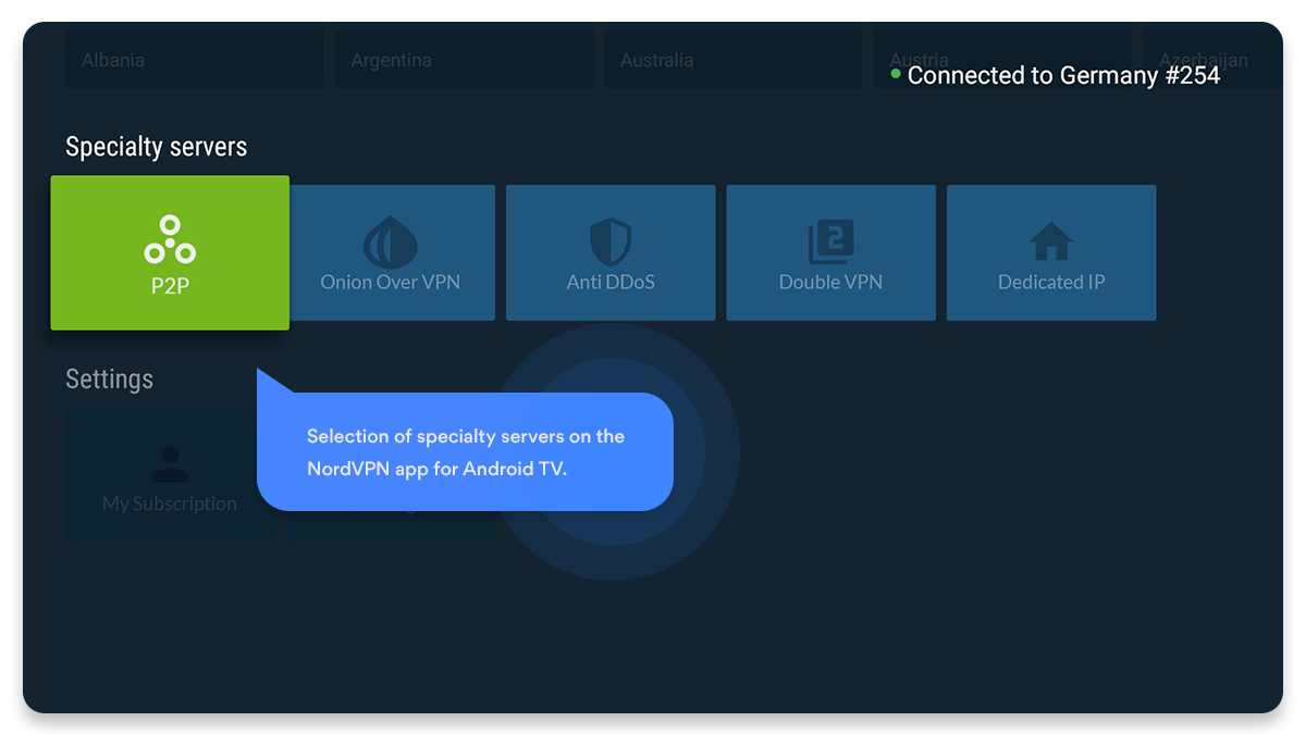 NordVPN app for Android TV - specialty servers