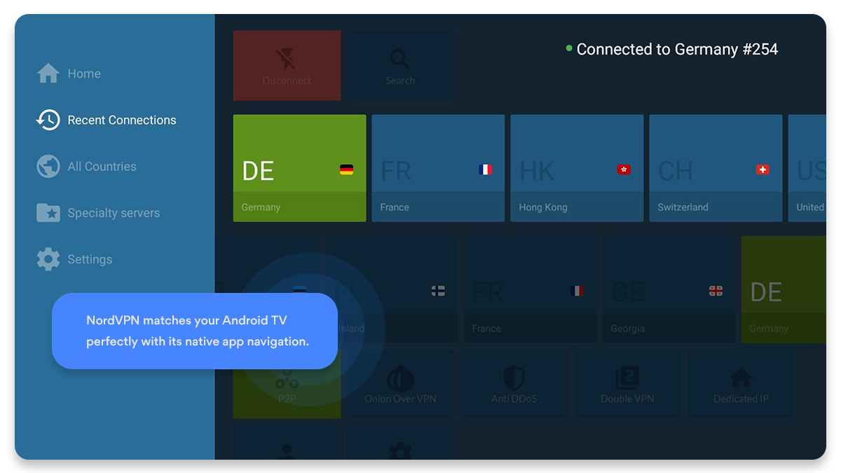 NordVPN app for Android TV - Recent connections