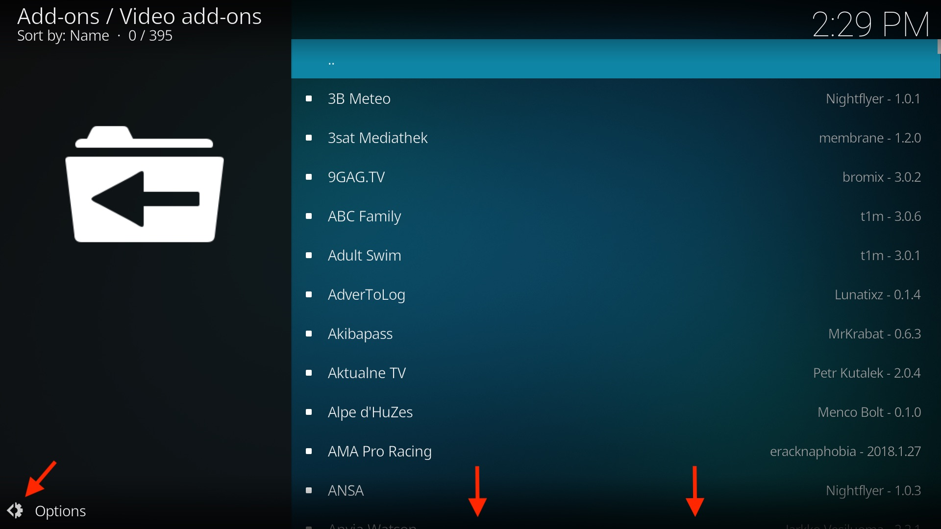 Browse the Kodi movie add-ons list.