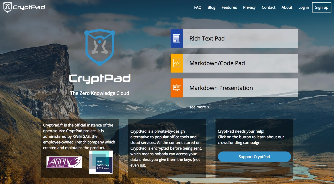 CryptPad website