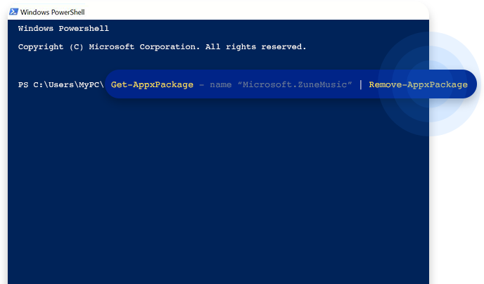 Use Windows Powershell to remove bloatware