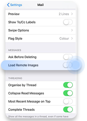 Turn off automatic image loading on Apple Mail for iPhone