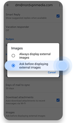 Turn off automatic image loading on Gmail for Android