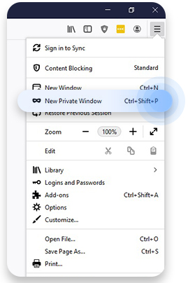Incognito mode on Mozilla