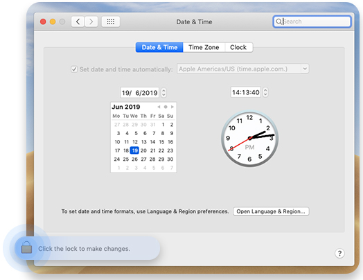 Check date and time on Mac