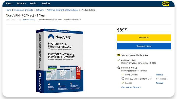 NordVPN at Best Buy Canada