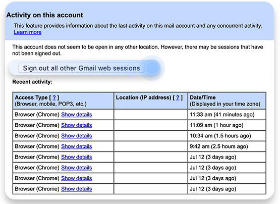 Check if your Gmail is hacked