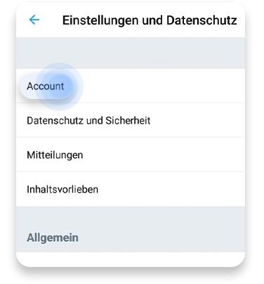 twitter account löschen (app): schritt 2