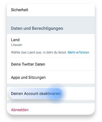 twitter account löschen (app): schritt 3