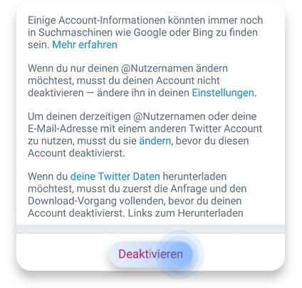 twitter account löschen (app): schritt 4