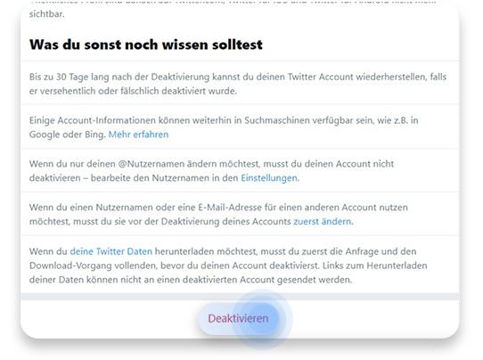 twitter account löschen (pc): schritt 3