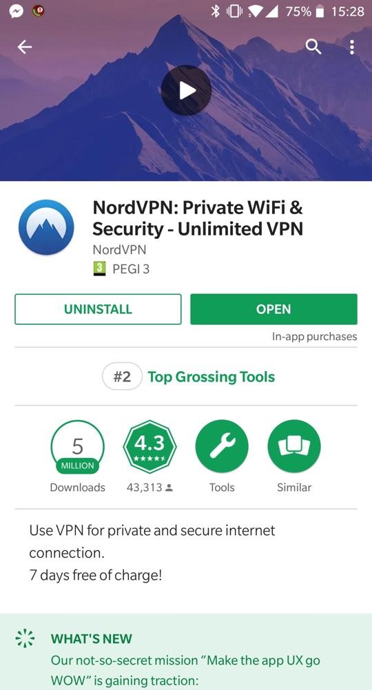 NordVPN app on GooglePlay