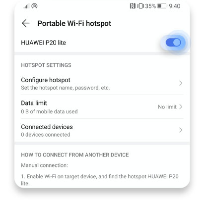 How to set a hotspot on Android