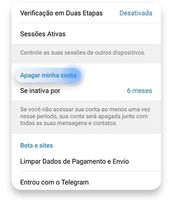 como excluir telegrama:  autodestruição do seu aplicativo - passo nº3