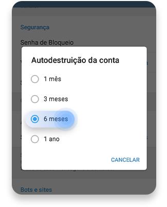 como excluir telegrama:  autodestruição do seu aplicativo - passo nº4
