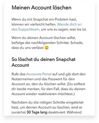 Wie kann ich meinen Snapchat-Account löschen zweiten Weg Schritt 7