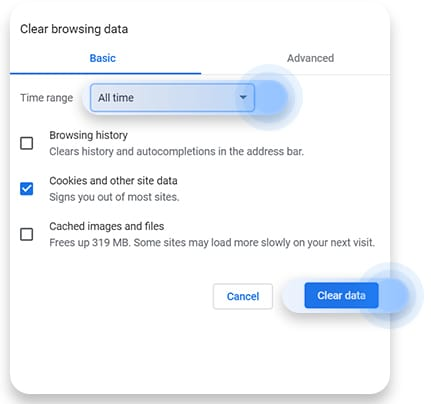 Delete cookies in Chrome